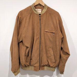 Vintage Norm Thompson Tan Faux Suede Zip Jacket L